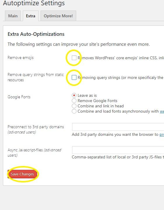 settings για πιο γρήγορο wordpress site